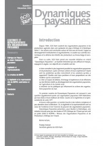 Légitimité et représentativité des organisations paysannes