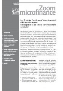 """Les Sociétés Populaires d'Investissement (spi ) équatoriennes : une expérience de """"micro-investissement solidaire"""""""