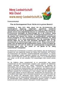 Les ONG regrettent que la politique agricole luxembourgeoise ne s'est pas du tout orientée vers le verdissement